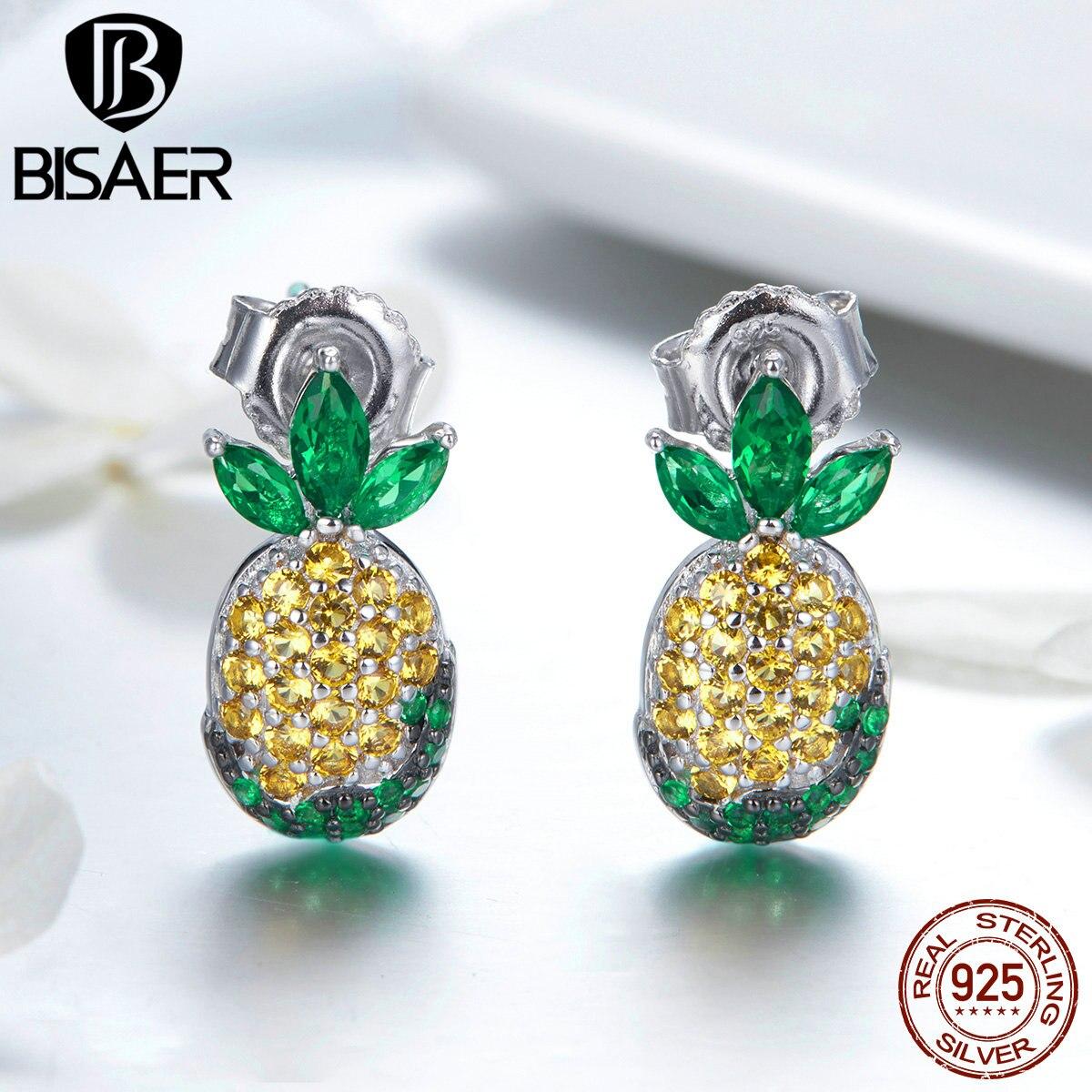 c139d89b77b1 BISAER de moda de cristal de Plata de Ley 925 de exquisitos pendientes para las  mujeres de fruta de la piña pendientes joyería ECE530