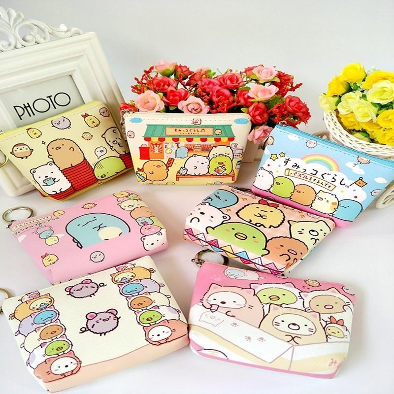 Kawaii Japan Cartoon San-x Coin Purse Kids Casual PU Coin Wallet Sumikko Pattern Cartoon Dollar Money Bag
