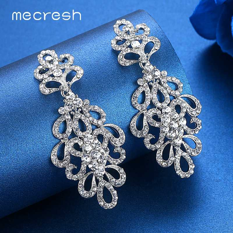 Mecresh Silver Color Crystal Clip On Earrings Women Accessories Flower Bridal Bridesmaid Hanging Earrings Wedding Jewelry EH177