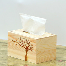 Simple Solid Wood Desktop Tissue Box Living Room Creative Drawing Car with Household Wooden Napkin Tray  17*11*13cm