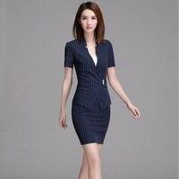 Fashion Striped Slim Fit Summer Formal Blazers OL Styles Business Women Skirt Suits Jacket And Skirt Ladies Blazers Beauty Salon
