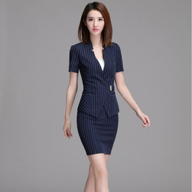 Fashion Striped Slim Fit Summer Formal Blazers OL Styles Business Women Skirt Suits Jacket And Skirt Ladies Blazers Beauty Salon