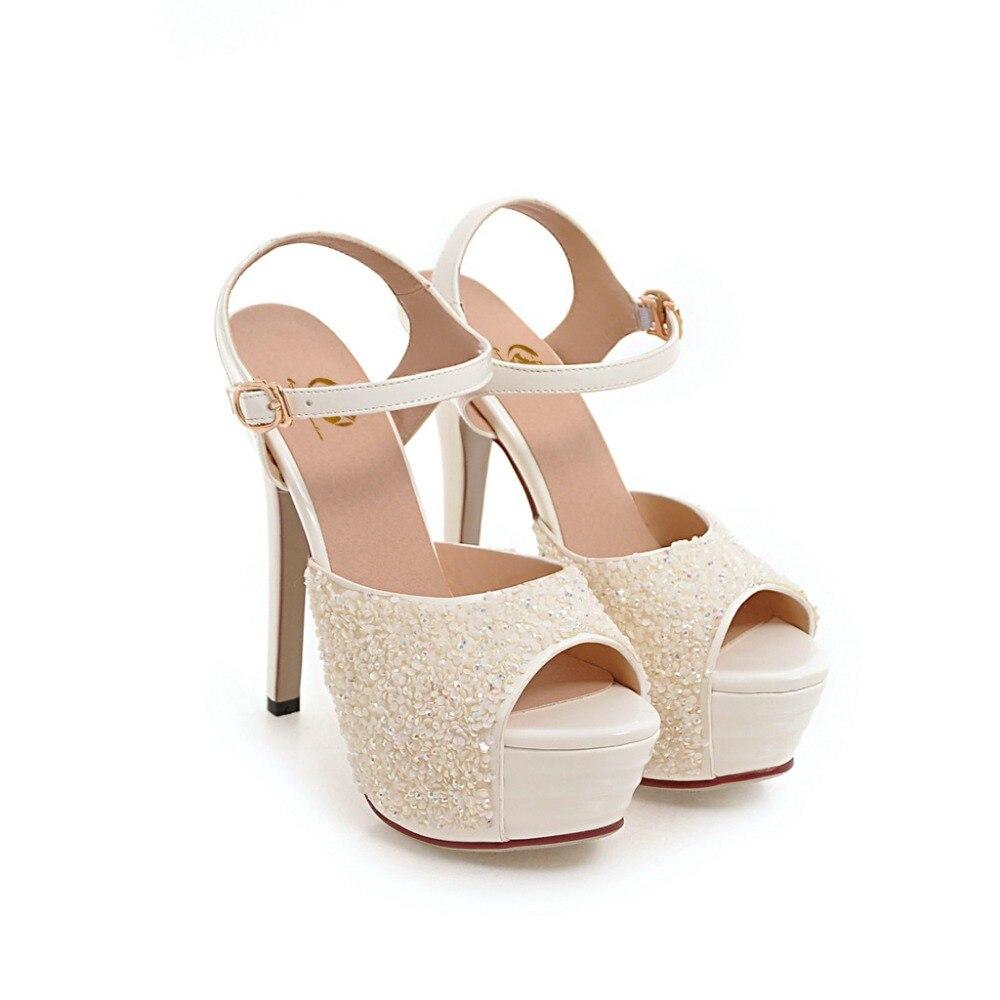 92062 Plus Minces Femme 5 Us Glitter Taille La Argent L'intention Sandales 92061 Blanc Bout Talons Chaussures Élégant 5 Femmes Ouvert 10 Initiale 3 qn7UaW7O1