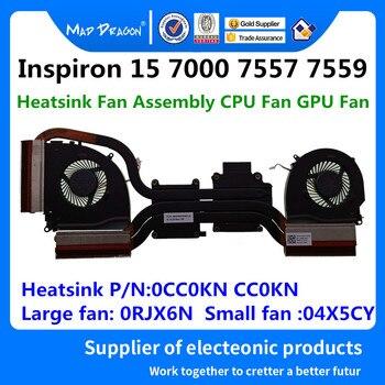 MAD Smok Na Laptopa Marki Nowy Radiator Zespół Wentylatora Wentylator Procesora GPU Wentylator Do Dell Inspiron 15 7000 7557 7559 0CC0KN CC0KN 0RJX6N 04X5CY