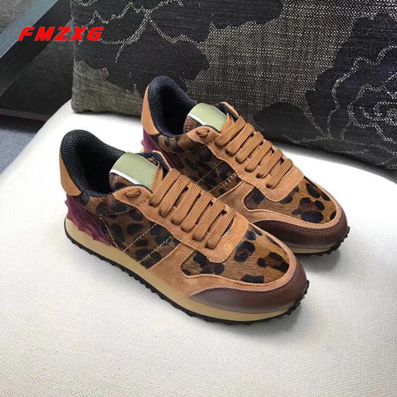 Сникерсы для женщин, обувь на платформе, Повседневная модная леопардовая брендовая ковбойская обувь из натуральной кожи высокого качества