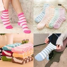 11db252d311 2 1 Pairs Cozy Fuzzy Slipper Socks Women Plush Soft Warm Fluffy Coral  Velvet Thicken Crew Socks for Winter Chindren Teens