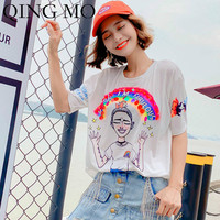 QING MO Women White Cartoon Print T Shirt 2019 Summer Women Sequin T Shirt Women Cartoon Sleeve T Shirt Loose ZQY682
