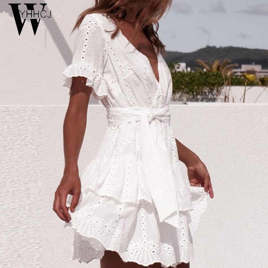WYHHCJ 2019 белые хлопковые платья с вышивкой летние женские с коротким рукавом Повседневный пляжный сарафан сексуальное мини-платье с v-образным вырезом