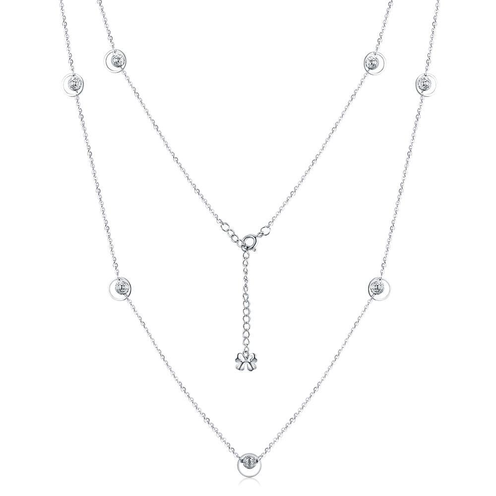 S925 argent sterling simple tendance long article chaîne circulaire chaîne perle accessoires SVM003