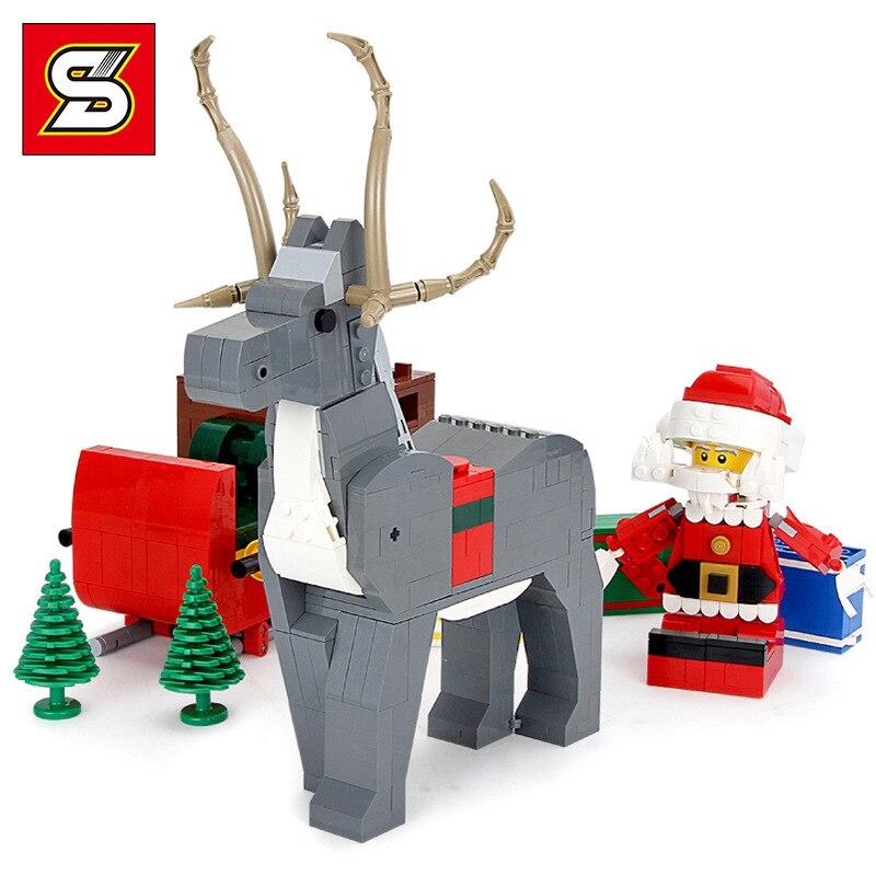 1099pcs Legoinglys Creator Christmas Elk Sleigh Building Blocks Model Set Deer Reindeer Snowman Toys for Children Boy Girl Gift