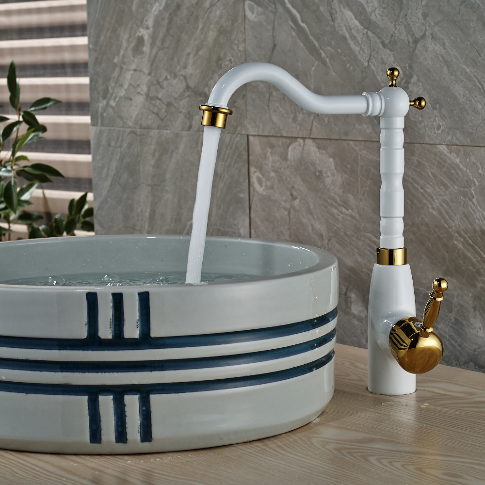 ФОТО Luxury White Painting Bathroom Basin Faucet Swivel Spout Single Handle Hole Tap