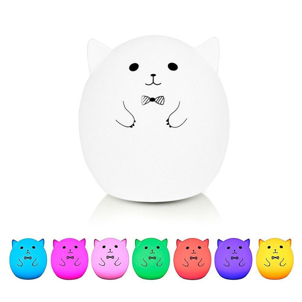 Мягкий силиконовый светодиодный Ночные огни USB Перезаряжаемые 3 режима многоцветный сенсорный Сенсор свет для детей детские, для малышей Сп...