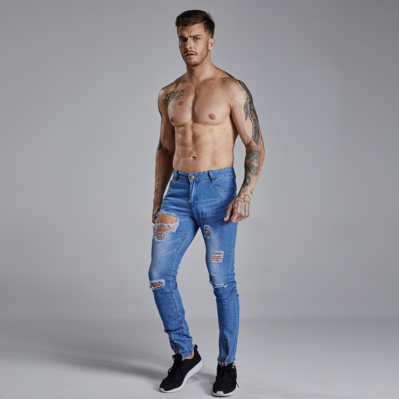 2018 New Mens Hole Jeans Fashion Men Casual Slim Fit Straight High Stretch Feet Skinny Jeans Men Black Hot Sell Male Trousers