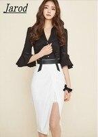2018 Pist Tasarımcısı Seti Takım Elbise kadın Yüksek Kaliteli Parlama Kol Seksi V Yaka siyah Bluzlar + beyaz Kalem Etek