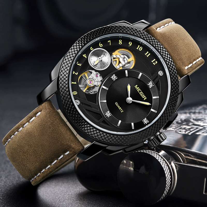 цена Top Brand Fashion Men Watch Sport Quartz Wristwatches Leather Strap Army Military Watches