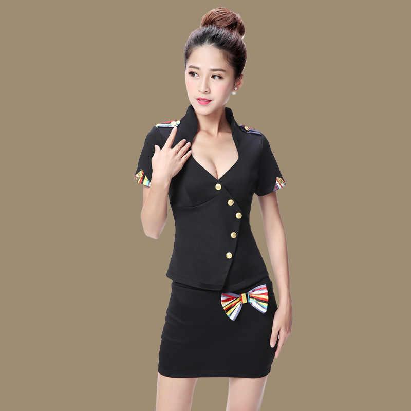S-4XL de talla grande mujer Sexy de aviación uniformes camisa Mini falda de manga corta KTV Club Sauna terapia traje para el trabajo