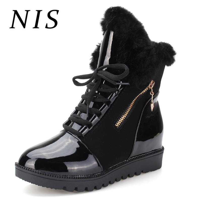 все цены на NIS Faux Fur PU Leather Ankle Boots Women Shoes Casual Lace up Sport Shoes Women Boots Winter Platform Shoes Sneakers Botas New