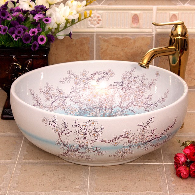 Lovely China Painting Plum Blossom Ceramic Painting Art Ceramic Wash Basin Lavabo  Bathroom Sink Counter Top Ceramic