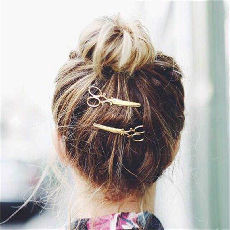 2020 جديد الموضة الجدة الكورية النساء مقاطع الشعر إكسسوارات الشعر الإبداعية مقص لطيف مشط شكل دبابيس الشعر للأطفال الفتيات