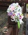 Флер букет Mariage Водопад Розе Искусственный Свадебные Букеты Розовый Фиолетовый Свадебные Цветы Свадебные Букеты Невесты Букеты