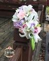 Ramo de La Flor Mariage Cascada Artificial Ramos de Novia Rosa Púrpura Novia Ramos de Flores de La Boda Ramos de Novia Roze