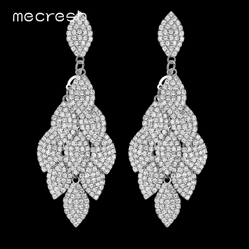 Mecresh Kristal Pernikahan Anting Panjang Warna Silver Leaf Bentuk Berlian Imitasi Bridal Earrings Bridesmaid Party Prom Perhiasan EH593