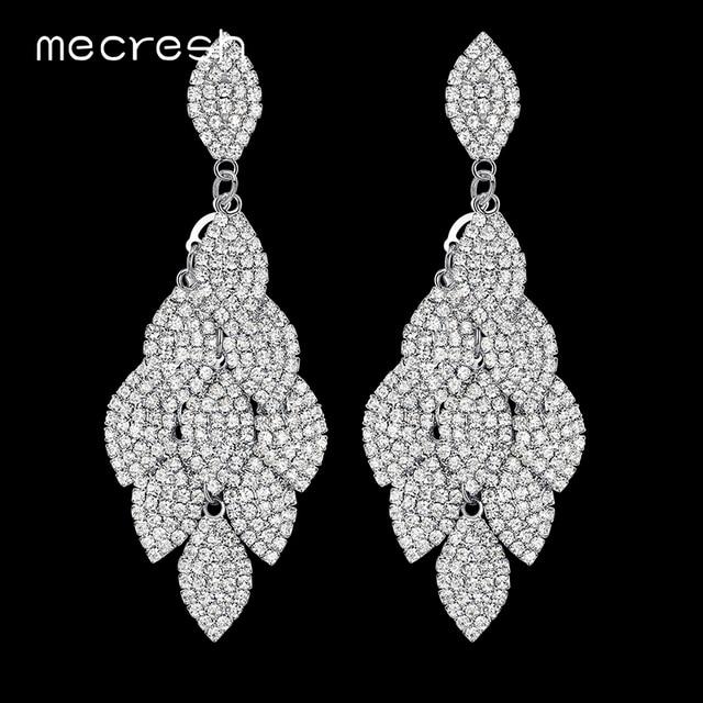 b31eb3c18 Mecresh Crystal Wedding Long Earrings Silver Color Leaf Shape Rhinestone  Bridal Earrings Bridesmaid Party Prom Jewelry EH593
