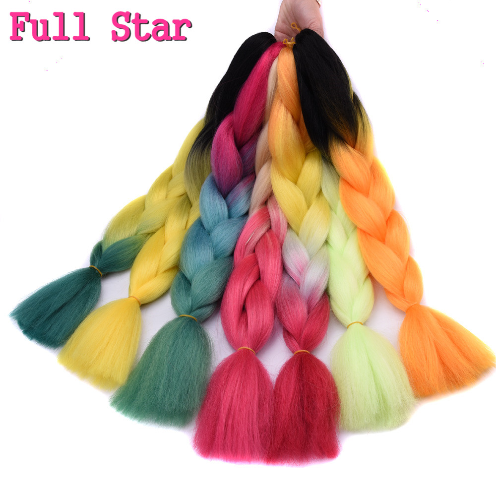 Jumbo Braids Beautiful Full Star 1pc/lot Synthetic Two Tone High Temperature Fiber Ombre Braiding Hair 24 Inch Jumbo Braids Yellow Green Hair Extension To Assure Years Of Trouble-Free Service