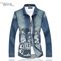Denim Men's Casual Dress Shirts Long Sleeve Printed Slim Fit Plus Size M-6XL Blouse Male Fashion Camisa Masculina Spring E512
