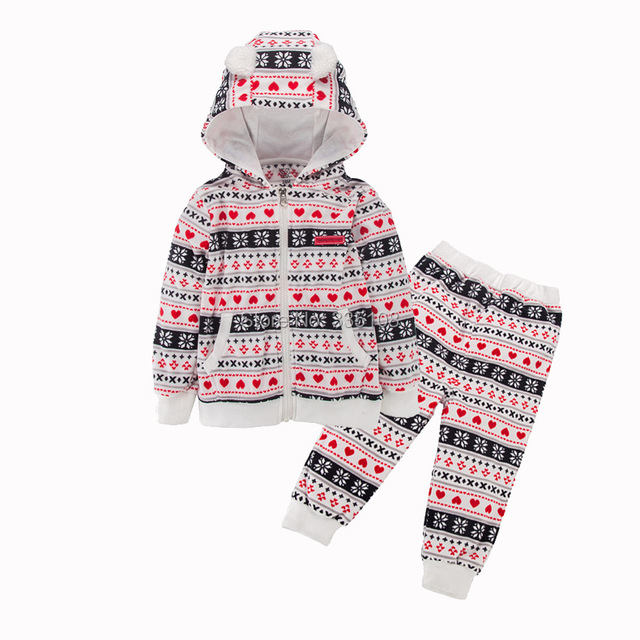 Polar Fleece Baby Girls Clothing Set Casual Hooded Zipper Sport Tracksuit Infant Toddler Boys Clothes Top + Pants for Autumn