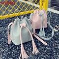 Mujeres Con Cordón Bucket Bag Mujeres Bolso de La Vendimia de Imitación Franja de La Borla de Crossbody Del Hombro Bolsos de Señora Bolsa de Mensajero Pequeños Bolsos