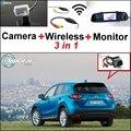 3 in1 Especial Câmera de Visão Traseira Sem Fio + Receptor + Sistema de Monitor espelho Estacionamento FÁCIL Para Mazda CX-5 CX 5 CX5