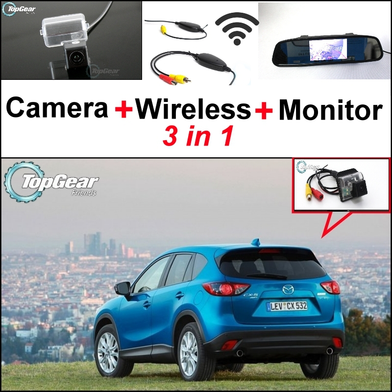 3 in1 Special Rear View Camera + Wireless Receiver + Mirror Monitor EASY Parking System For Mazda CX-5 CX 5 CX5 3 in1 special rear view camera wireless receiver mirror monitor easy diy backup parking system for jeep liberty 2002 2007