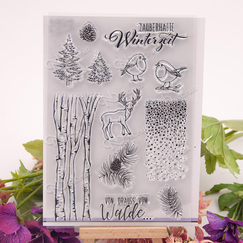 KLJUYP Winter Forest Transparent Clear Silicone Stamp/Seal for DIY scrapbooking/photo album Decorative clear stamp sheets wish list transparent clear silicone stamp seal for diy scrapbooking photo album decorative clear stamp sheets
