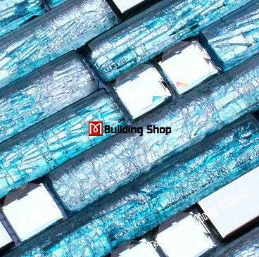 Stainless Steel Glass Mosaic Tile Ssmt159 Blue Glass Tiles