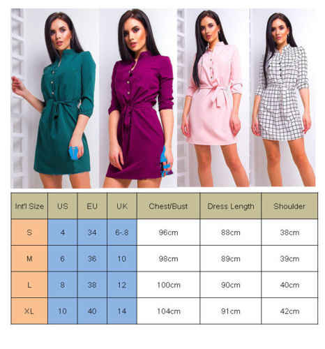 Women Stand Collar Loose Casual Dress Elegant High Waist Band Beach Party Dresses Fashion Hot Sale Three Quarter Sleeve Solid