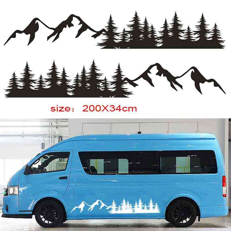 Amazon Com Luixxuer 2pcs Car Side Body Stickers Mountain Decals Tree Forest Custom Vinyl Graphic For Camper Rv Trailer Kitchen Dining