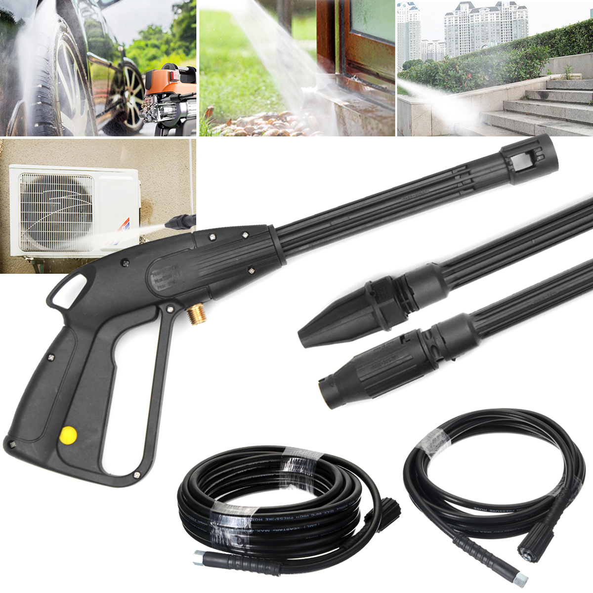 High Pressure Power Washer Spray Nozzle Adjust Water-Gun Lance/ 5/10M Washer Extension Jet Hose M22XM14 Connector Replacement