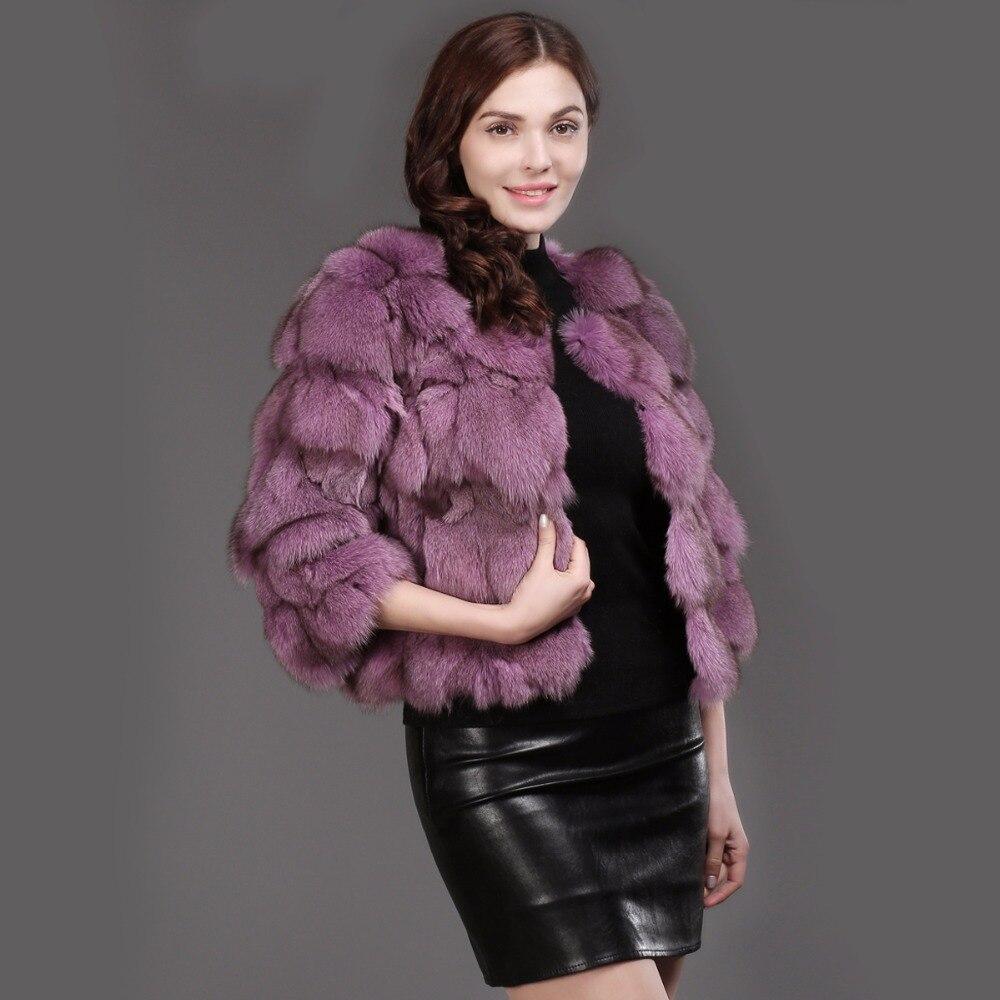 grey De Vêtements red Veste Réel Manteau 100Naturel New White Fourrure Femmes purple Chaud Fashion Lady Courte Renard 2018 Hiver natural Beige Purple black DEeWHY29I