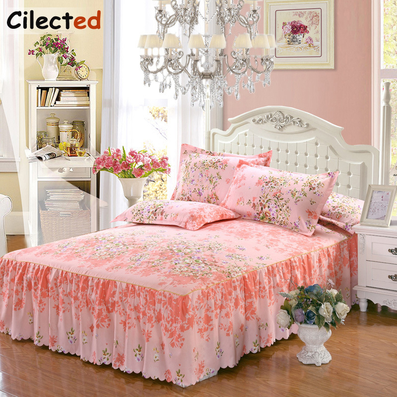 Cilected 2018 New Textile Print Bed Cover Bedspread Child Adult Pillowcase Couvre Lit 1.8M Double Bed Non-Slip Protective Sleeve