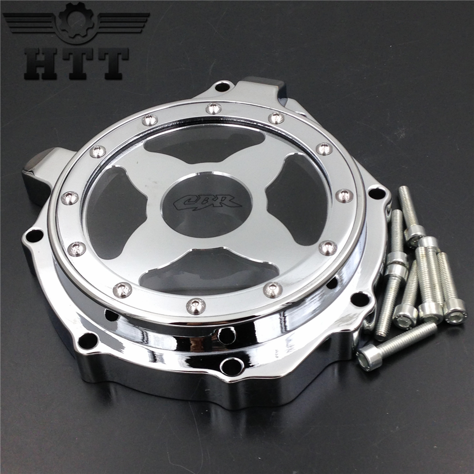 Aftermarket free shipping motorcycle parts Billet Engine Stator cover see through  for  Honda  CBR1000RR 2004-2007 Left CHROME aftermarket free shipping motorcycle parts engine stator cover for honda cbr1000rr 2004 2005 2006 2007 left side chrome