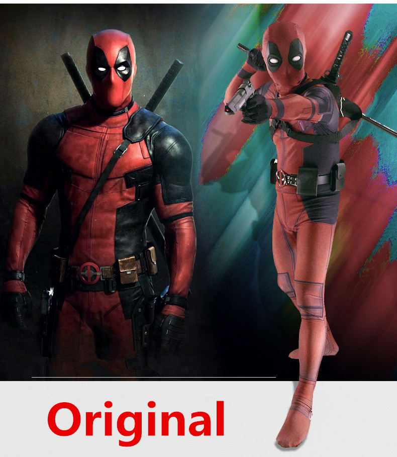 Deadpool Costume Adult Man Spandex Lycra Zentai Bodysuit Halloween Cosplay Suit Belt Headwear Mask Sword Holster