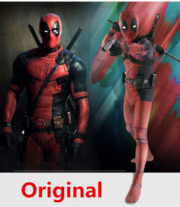 Sale Deadpool Costume Adult Man Spandex Lycra Zentai Bodysuit Halloween Cosplay Suit Belt Headwear Mask Sword Holster