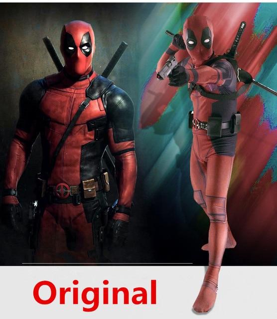 Deadpool Trang Phục Dành Cho Người Lớn Người Đàn Ông Spandex Lycra Zentai Bodysuit Halloween Cosplay Vành Đai Phù Hợp Với Mũ Nón Mặt Nạ Thanh Kiếm bao da