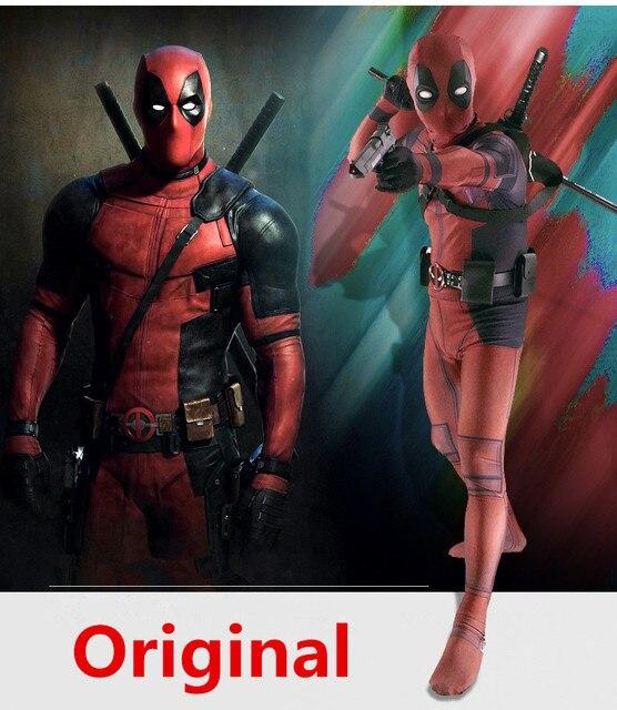 Homem Adulto Traje Deadpool Spandex Lycra Zentai Bodysuit Halloween Cosplay  Terno Cinto Headwear Máscara Espada coldre 0115b944eeba