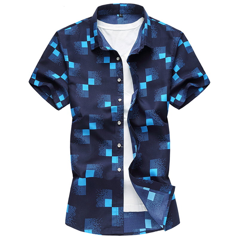 M-7XL Shirt  2019 New Men Fashion Business Short Sleeve Irregularity 3D Print Dress Shirt Comfortable Casual Hawaiian Shirt