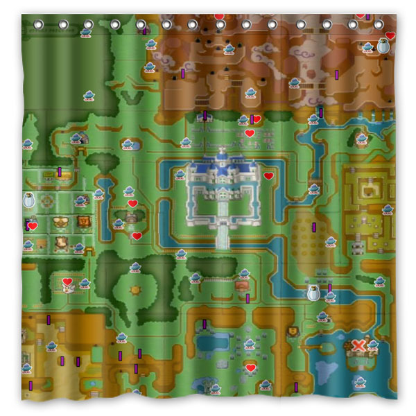 The Legend Of Zelda Map Printed Waterproof Polyester Shower Curtain Bath CurtainSize180X180CM