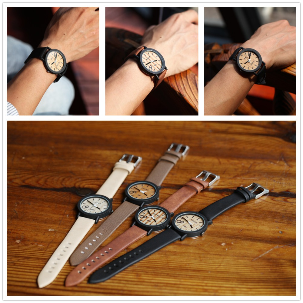 Simulation Wooden Relojes Quartz Men Watches Casual Wooden Color Leather Strap Watch Wood   Male Wristwatch Relogio Masculino wood watch men vintage square quartz business wristwatch wooden band relojes hombre 2017 bamboo watches male relogio masculino