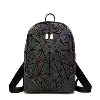 2019 New Luminous Backpacks Women Geometric Backpack For Women Men Zipper Rucksack Holographic Female Backbag Shoulder Bag Sac