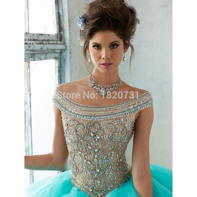 Quinceanera robe de bal à encolure dégagée robes de Quinceanera bleues 2019 robes de Debutante à paillettes perlées de luxe 15 ans - 5